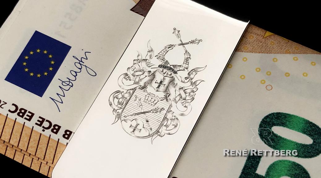 Geldscheinklammer mit Wappen oder Monogramm