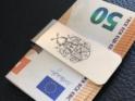 Geldklammer aus massivem Silber mit Handgravur eines Familienwappens (Vollwappen)