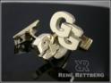 versetzte Buchstaben Anordnung Gold Manschettenknöpfe