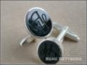 Manschettenknöpfe oval Silber mit Onyx schwarz