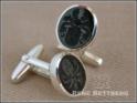 ovale Silber Manschettenknöpfe mit Onyx, graviert