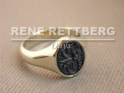 Ovaler Gold Siegelring mit Onyx-Wappengravur, oval