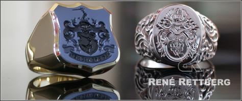 Sehr individuelle Siegelring und Wappenring Kollektion aus unserem Spezial Atelier für Siegelring Anfertigung und Herstellung
