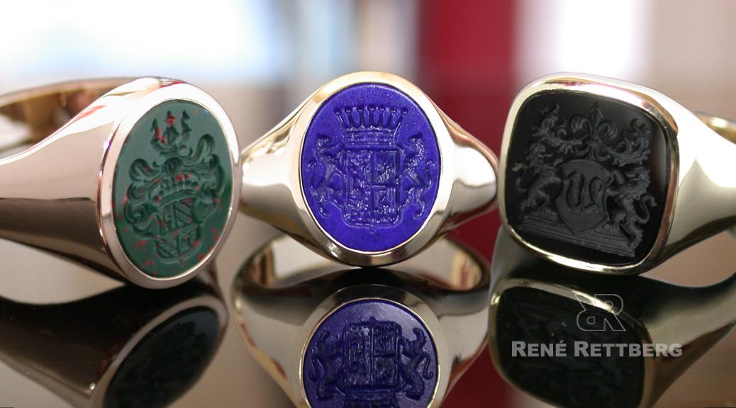 Ovale Siegelringe für Damen und Herren wahlweise mit Blutjaspis, Lapislazuli oder Onyx,