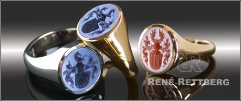 Siegelringe Herstellung mit Lagensteinen, Siegelring Anfertigung mit schönem Kontrast des Gravierten Wappens im bauen Lagenonx oder roten Lagenkarneol