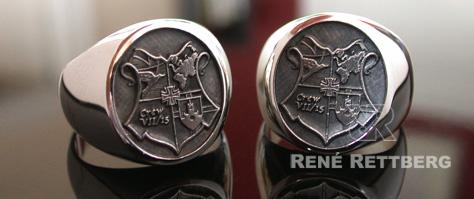 Hochwertige Colleguering und Offiziersring Anfertigung im Meisteratelier RENÉ RETTBERG. Wir liefern in Gold 333, 585 oder 750 und in Silber