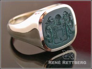 Jaspis oder Blutjaspis Siegelringe mit Wappen-Gravur massiver Siegelring antike Form für Damen und Herren