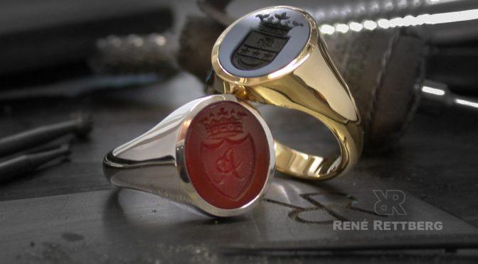 Herstellung von Siegelringen in Weißgold mit graviertem Karneol Carneol