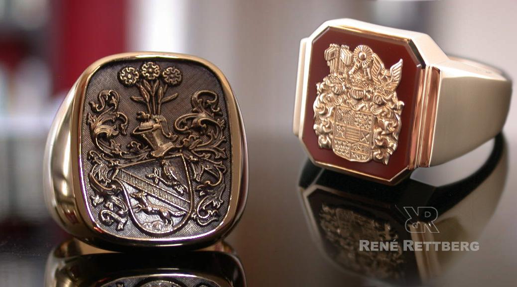 Wir sind Hersteller hochwertiger Wappenringe mit Reliefgravuren von Familienwappen oder Monogrammen
